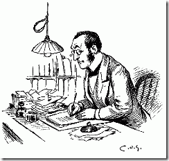 man-with-glass-writing-at-desk-clerk-thank-you-card-paying-bills-dot-is-pen-ink-drawing